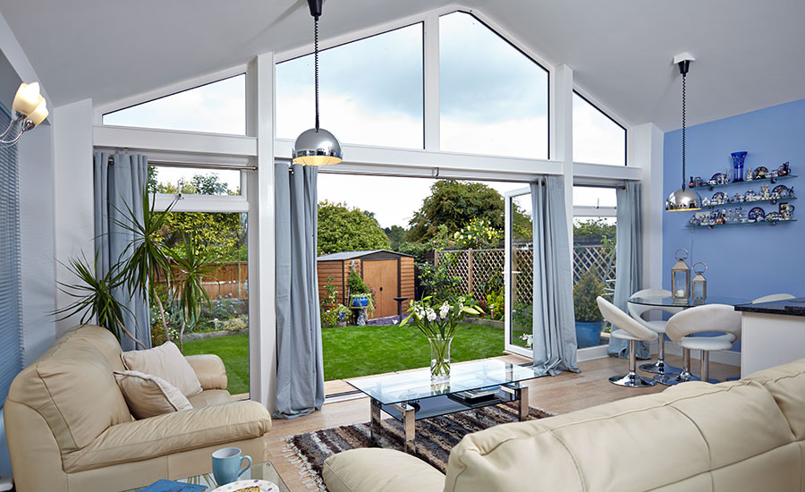 Extension With Garden View Through Bi Folding Doors By Anglian Home Improvements Myglazing Com