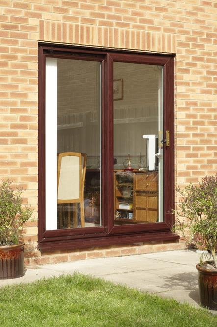 Dark Woodgrain Upvc Patio Door By Anglian Home