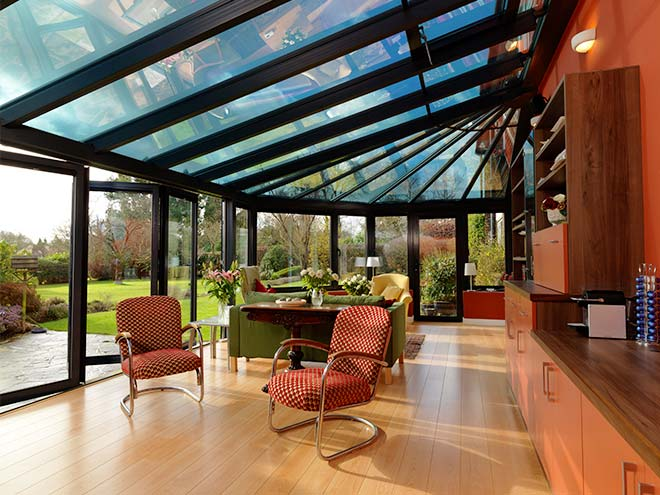 modern black aluminium conservatory everest myglazing