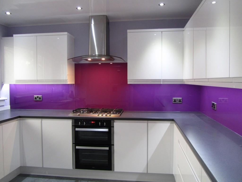 purple glass splashback kitchen all glass and glazing myglazing ggf uk