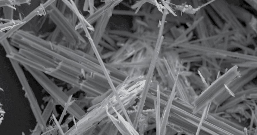 microscopic view of asbestos fibres in black and white