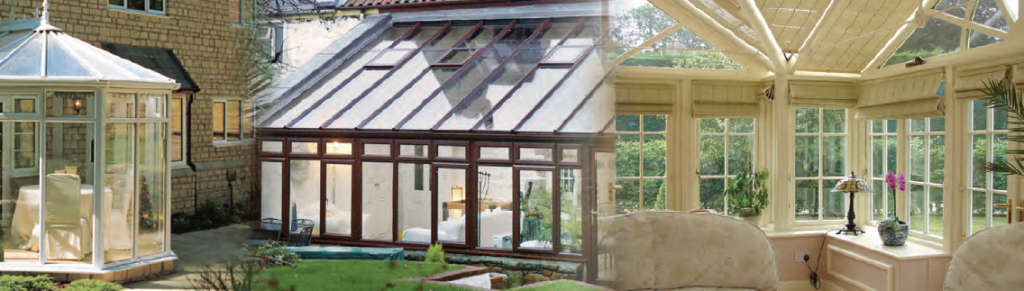 interior and exterior shots of conservatory glazed extensions