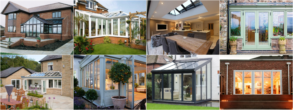 collage of different orangeries and conservatories