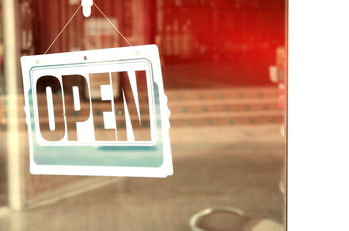 open sign on business window