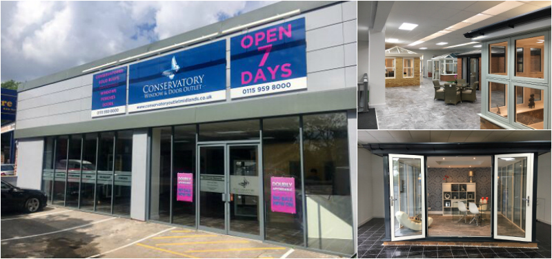 collage showing newest Conservatory Window and Door Outlet showroom in Nottingham
