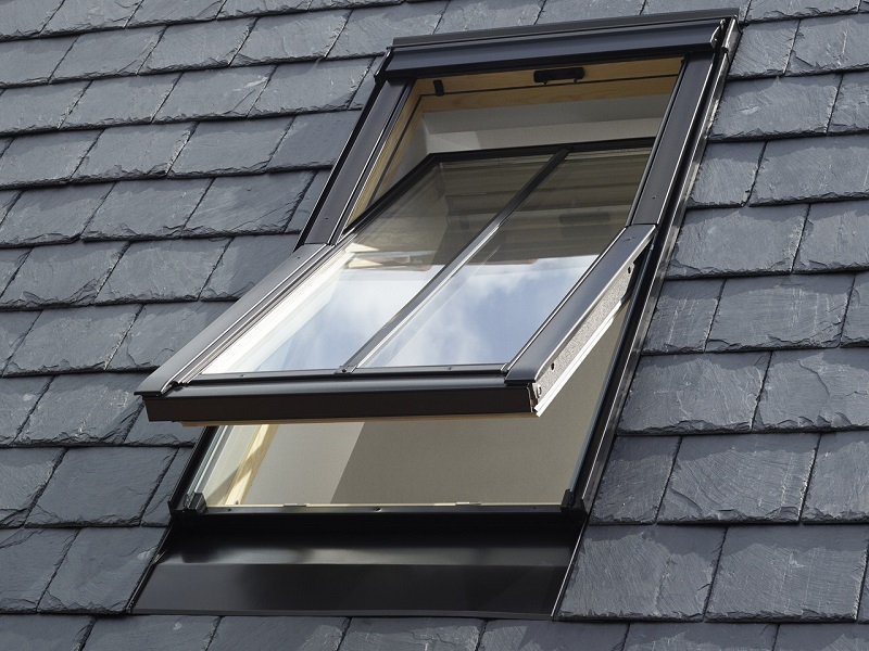 velux roof window black tiles