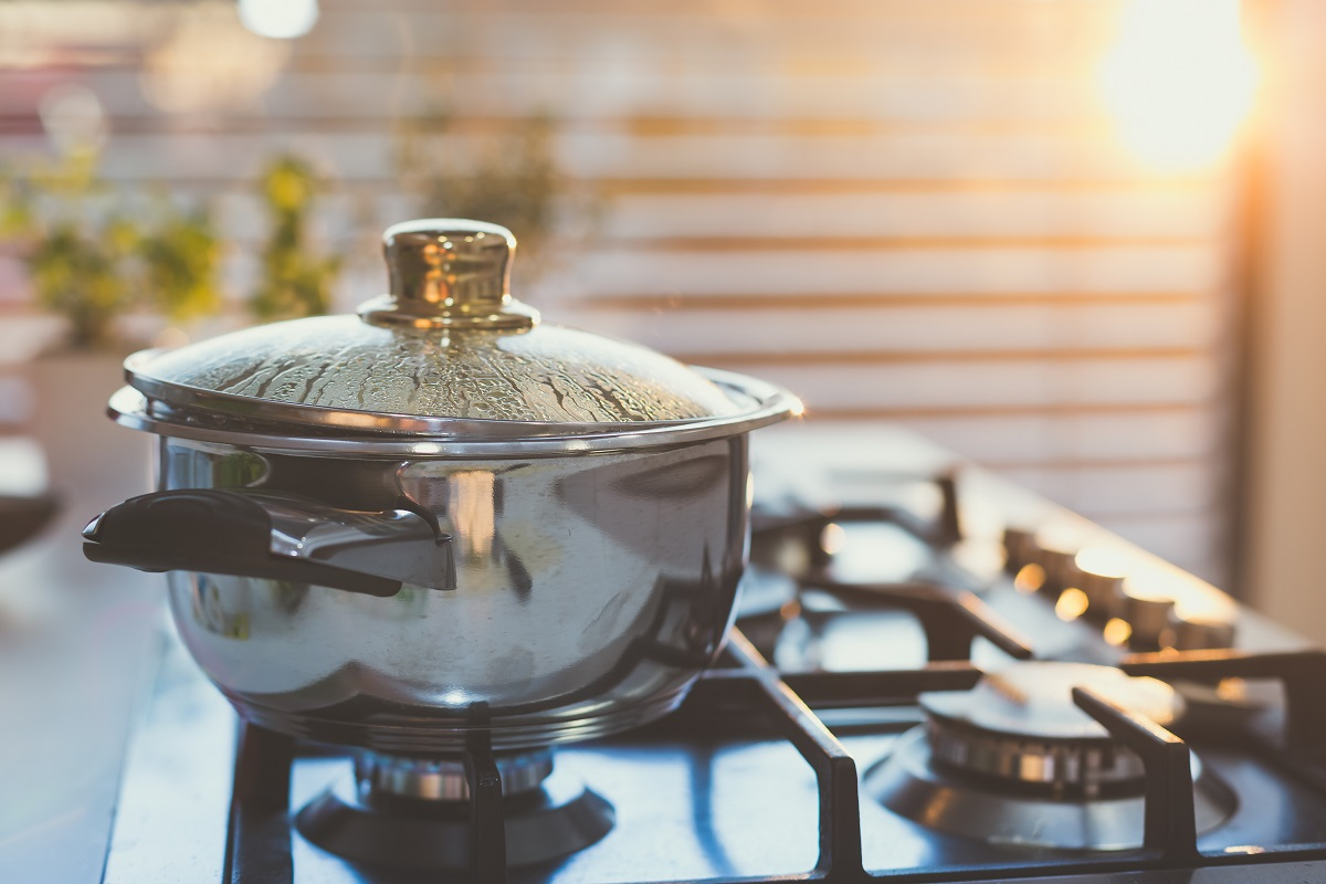 boiling pot on stovetop