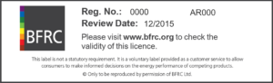 BFRC window energy rating label licence details