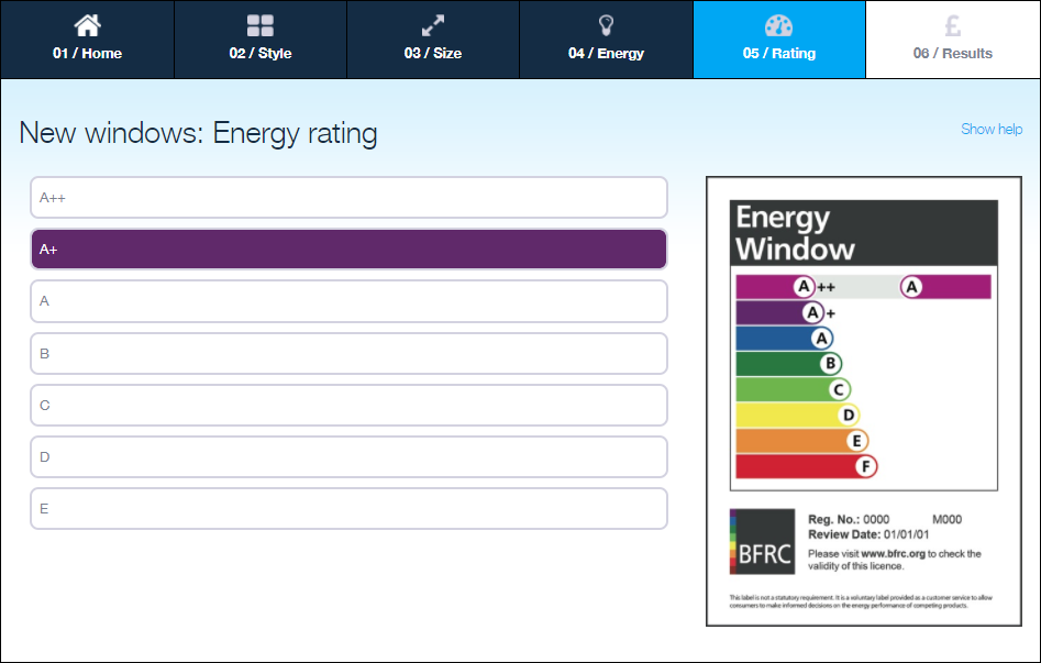 GGF Energy Savings Calculator selecting a new window energy rating