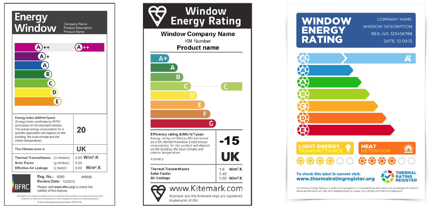window energy rating labels from bfrc bsi and certass